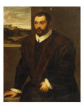 Portrait of a Bearded Gentleman Wearing a Fur-Trimmed Black Costume Giclee Print by Domenico Tintoretto