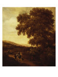 Wooded Landscape with Huntsmen and Travellers on a Road Kunstdrucke von Joris Van Der Haagen