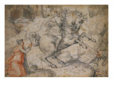 Saint George and the Dragon. Red and Black Chalk Plakater af Francesco Salviati