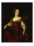 Portrait of a Lady, Seated, Three Quarter Length, Wearing a Red Dress Giclee Print by Nicolas Maes