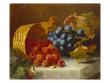 Still Life with Raspberries and a Bunch of Grapes on a Marble Ledge, 1882 Posters by Eloise Harriet Stannard