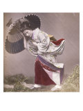 Wind Costume, a Young Japanese Girl in the Rain, c.1890 Prints