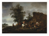 Travellers Refreshing Themselves at a Riverside Tavern, 1664 Prints by Isaac Van Ostade