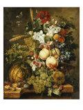 Fruit and Flowers on Marble Ledges, 1812 Impression giclée par Jacobus Linthorst