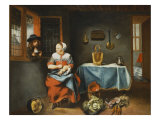 The Interior of a Cottage with a Young Serving Maid Plucking a Duck Giclee Print by Nicolas Maes