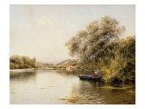 Boatmen in a Wooded River Landscape Art by Emilio Sanchez-perrier