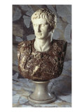 Italian Sculpted Statuary and Breccia Marble Bust of Caesar Augustus, 19th Century Giclee Print
