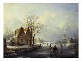 Skaters in a Frozen Winter Landscape Giclee Print by Andreas Schelfhout