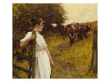 Back from the Commom, Heyshott, West Sussex, 1890's Giclee Print by Henry Herbert La Thangue