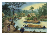 Manila and Its Environs: View Near the Town of Taguig on the Pasig River Giclee Print by Jose Honorato Lozano