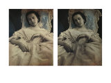 Sleeping Woman in White Dress, c.1851-55. Stereoscopic Daguerreotype Giclee Print by Alex Gouin