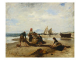 Fisherfolk Along a Shore Giclee Print by Francisco Miralles