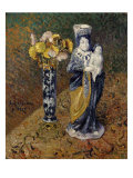 Statuette and a Vase of Flowers, Statuette et Vase de Fleurs, 1910 Art by Gustave Loiseau