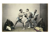 Sumotori or Wrestlers, c.1870-80 Art by Felice Beato