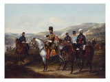 Mounted Officer of the Bundelkand Legion, with Native Officers, 19th Century Giclee Print by John E. Ferneley