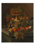 Still Life with Grapes and Fruit Print by Severin Roesen