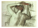 Nude Combing Her Hair, Femme Nue Se Coiffant Posters by Edgar Degas