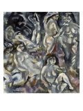 Eight Woman Arranged About the Landscape, Huit Femmes Autour D'Un Paysage, 1917 Affischer av Jules Pascin