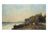 On the Bridge at Suresnos in Autumn, au Pont de Suresnos en Automne Giclee Print by Albert-Charles Lebourg