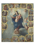 The Immaculate Conception with the Fifteen Mysteries of the Rosary Prints by Miguel Cabrera