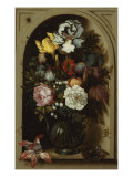 Irises, Roses, and Lilies of the Valley and Other Flowers in a Glass Vase in a Niche, 1621 Giclee Print by Balthasar van der Ast