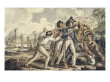 Captain Burney Discovering His Murdered Shipmates', from the Voyages of Captain Cook Giclee Print by Robert Isaak Cruikshank