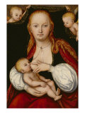 The Virgin and Child, with Putti Holding Up a Curtain Behind Giclee Print by Lucas Cranach the Elder