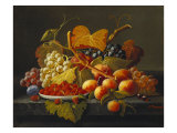 Still Life with Dish of Strawberries, Peaches and Grapes Lámina giclée por Roesen, Severin