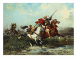 Warring Arab Horsemen, Combats Des Cavaliers Arabes Giclee Print by Georges Washington