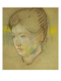 Head of a Young Woman, c.1895 Print by Mary Cassatt