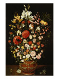 Tulips, Lillies, Irises, Roses, Carnations, Peonies, and Other Flowers in a Sculpted Terracotta Urn Giclee Print by Osias Beert