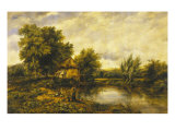 River Landscape with an Angler by a Mill, 19th Century Giclee Print by Frederick Waters Watts