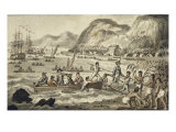Captain Cook Landing in Owyhee, from the Voyages of Captain Cook Giclee Print by Robert Isaak Cruikshank