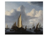 Seascape with a States Yacht and Other Shipping in a Calm, 1654 Giclée-Druck von Willem Van De Velde The Younger