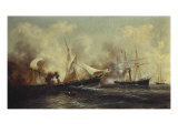 U.S.S. Kearsarge Sinking the Alabama Giclee Print by Xanthus Russell Smith
