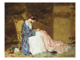 Girl Sewing - the Party Dress Giclee Print by William Wallace Gilchrist