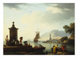 View of the Harbor at Genoa, 1773 Art by Claude Joseph Vernet