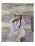 Young Woman on the Banks of the Greve, Jeune Femme au Bord de La Greve, 1901 Prints by Theo van Rysselberghe