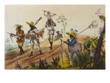 Native Hunters Return to the Town, Negres Chasseurs Rentrant en Ville Giclee Print by Jean Baptiste Debret