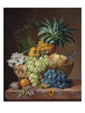 Still Life with a Pineapple, Grapes, Peaches, a Plum, a Tangerine and Assorted Flowers Giclee Print by Anthony Oberman