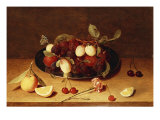 Plums and Peaches on a Pewter Dish with Cherries and a Carnation on a Table Kunstdrucke von Jacob van Hulsdonck