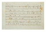 Fryderyk Chopin - Autographed Manuscript Signed and Dedicated of the Grande Valse Brilliante, Opus 18 in E Flat Major - Giclee Baskı