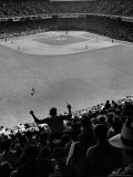 Fan Rooting for His Team in a Packed Stadium During Brooklyn Dodger Game at Ebbets Premium Photographic Print by Sam Shere