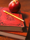 Red Apple on Books with Pencil Photographic Print