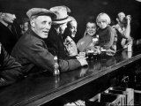Dam Workers with Family Members Enjoying Beer at Local Bar Premium Photographic Print by Margaret Bourke-White