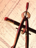 Blueprint Pencil Compass Still Life Conceptual Photographic Print
