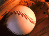 Still Life Baseball in Baseball Mitt Photographic Print