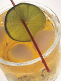 Close Up Carbonated Beverage with Lime Slice Photographic Print