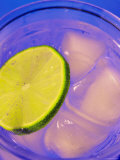 Close Up Water Ice Cubes and Lime Slice in Glass Photographic Print