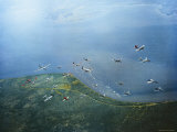 Fleet of US Air Force Operational Planes Flying in a Single Formation over Gulf Coast Photographic Print by J. R. Eyerman